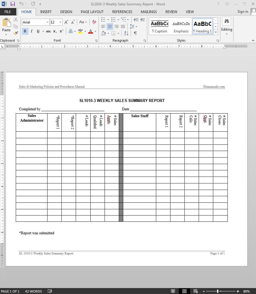 Weekly Sales Summary Report Template | Sl1010 3 For Sales Representative Report Template