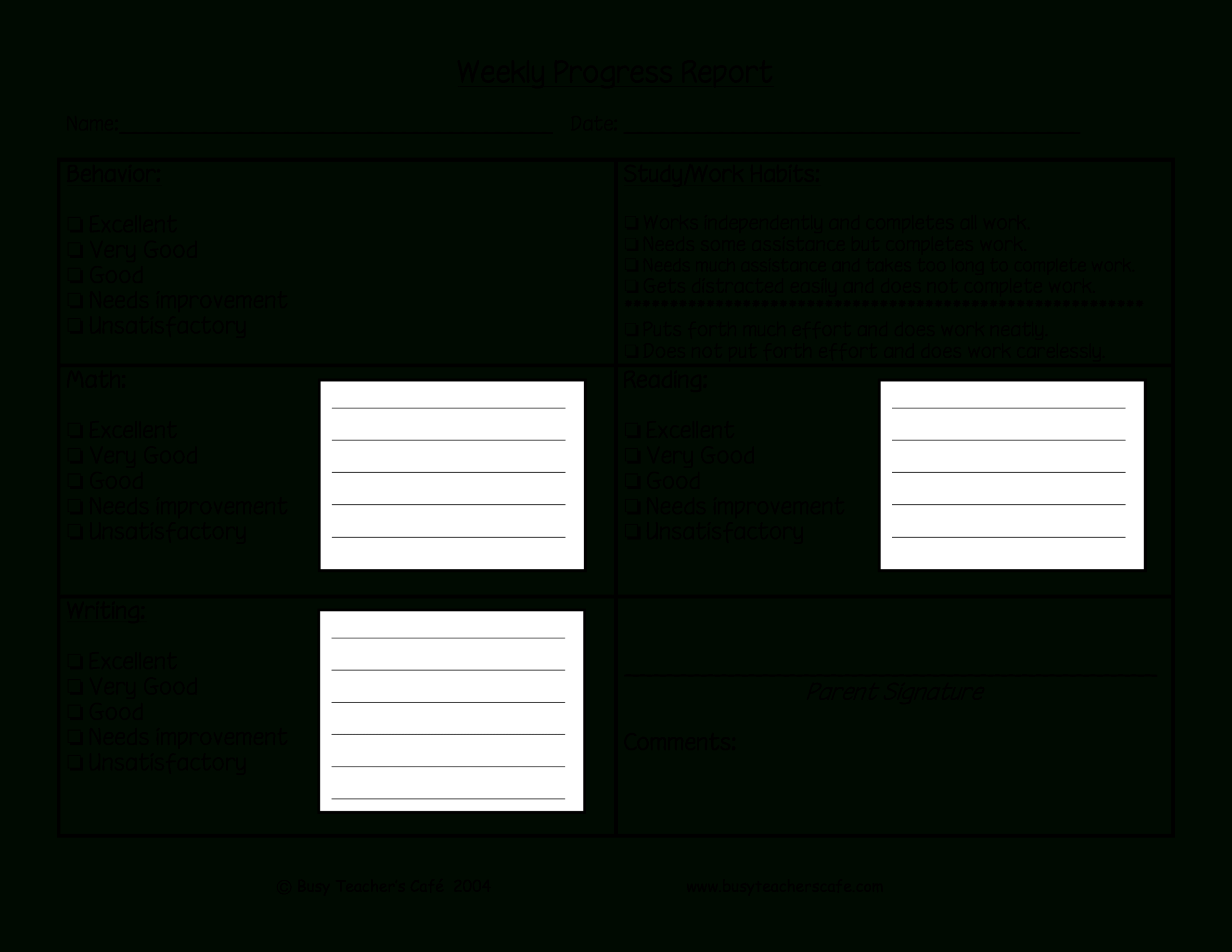 Weekly Student Behavior Report | Templates At Throughout Daily Behavior Report Template