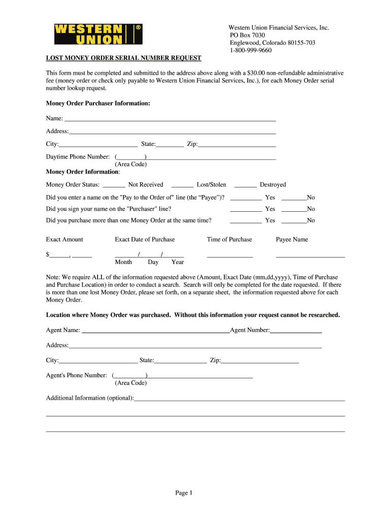 Western Union Form - Fill Online, Printable, Fillable, Blank Inside Blank Money Order Template