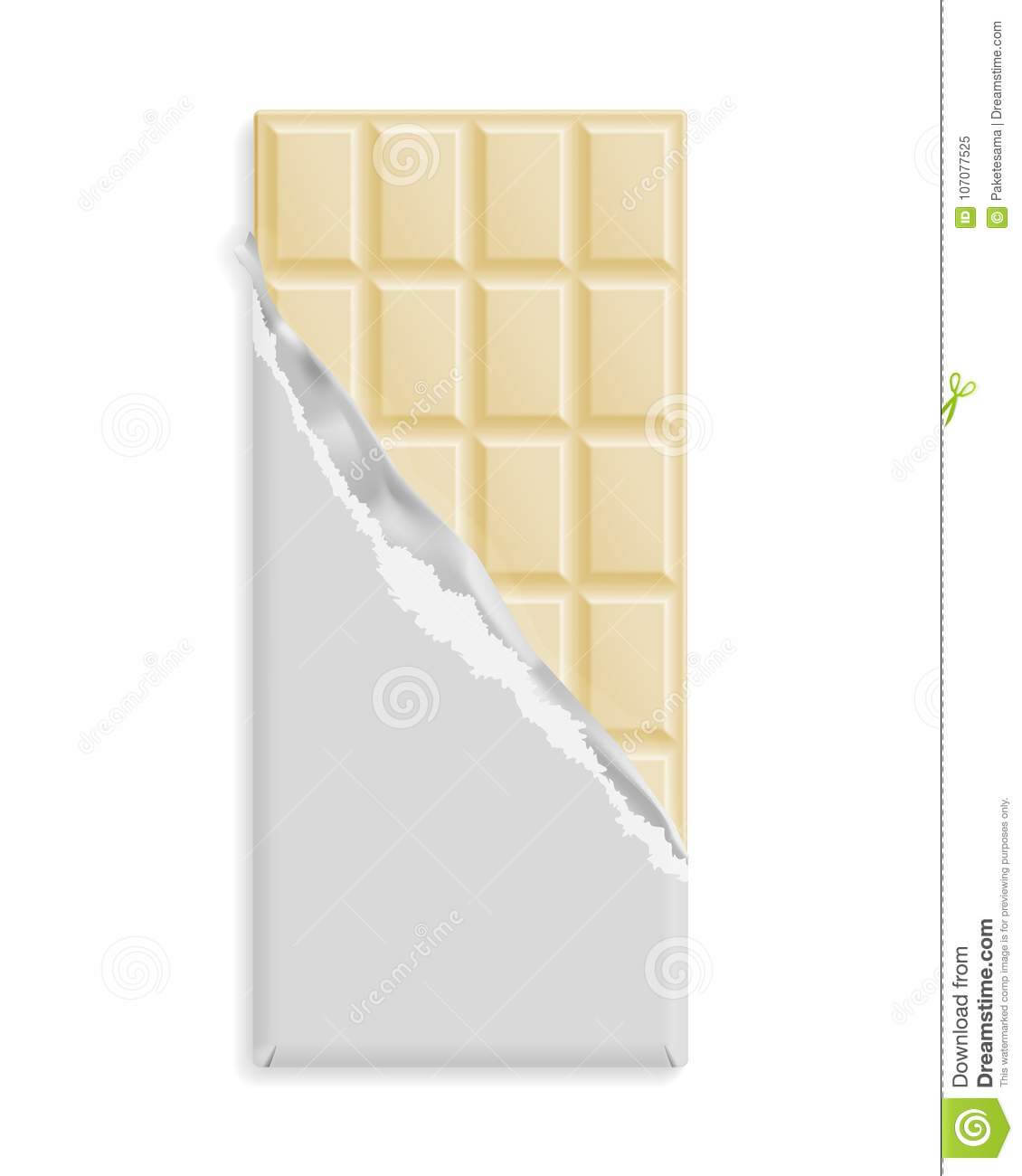 White Chocolate Bar In A Blank Wrapper Stock Vector Throughout Free Blank Candy Bar Wrapper Template