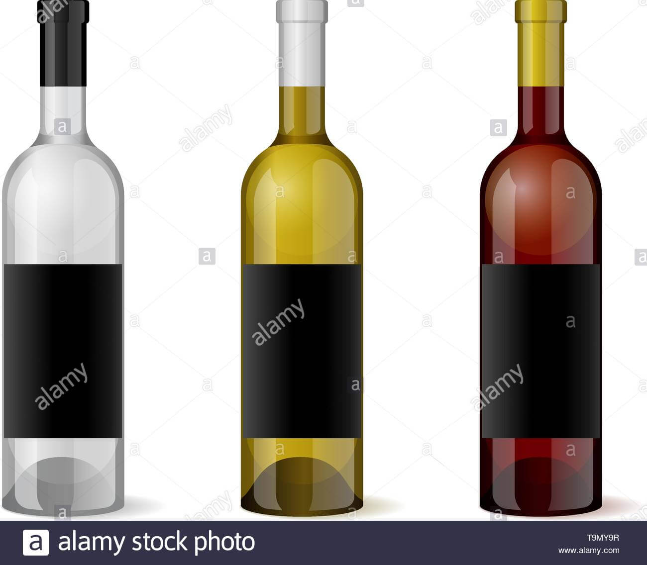 Wine Realistic 3D Bottle With Blank Black Label Template Set In Blank Wine Label Template