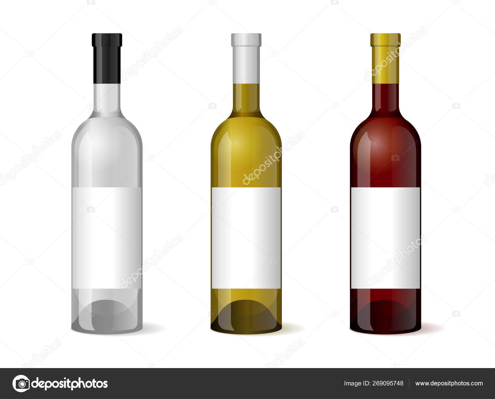 Wine Realistic 3D Bottle With Blank White Label Template Set For Blank Wine Label Template