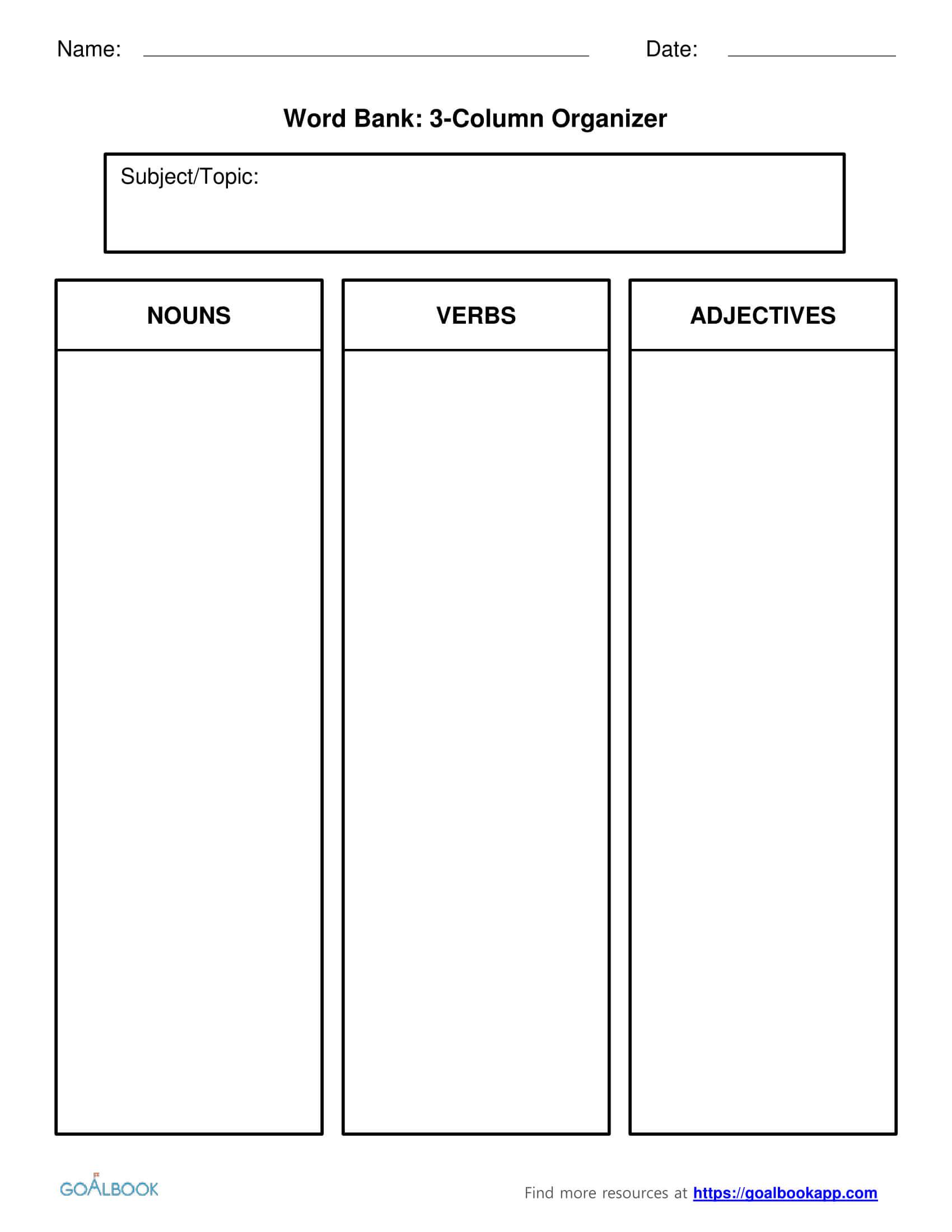 Word Bank | Udl Strategies - Goalbook Toolkit Within 3 Column Word Template