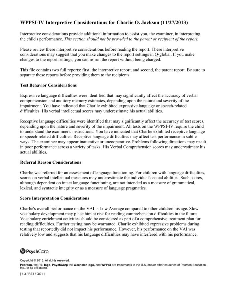 Wppsi Iv Interpretive Report Sample With Wppsi Iv Report Template