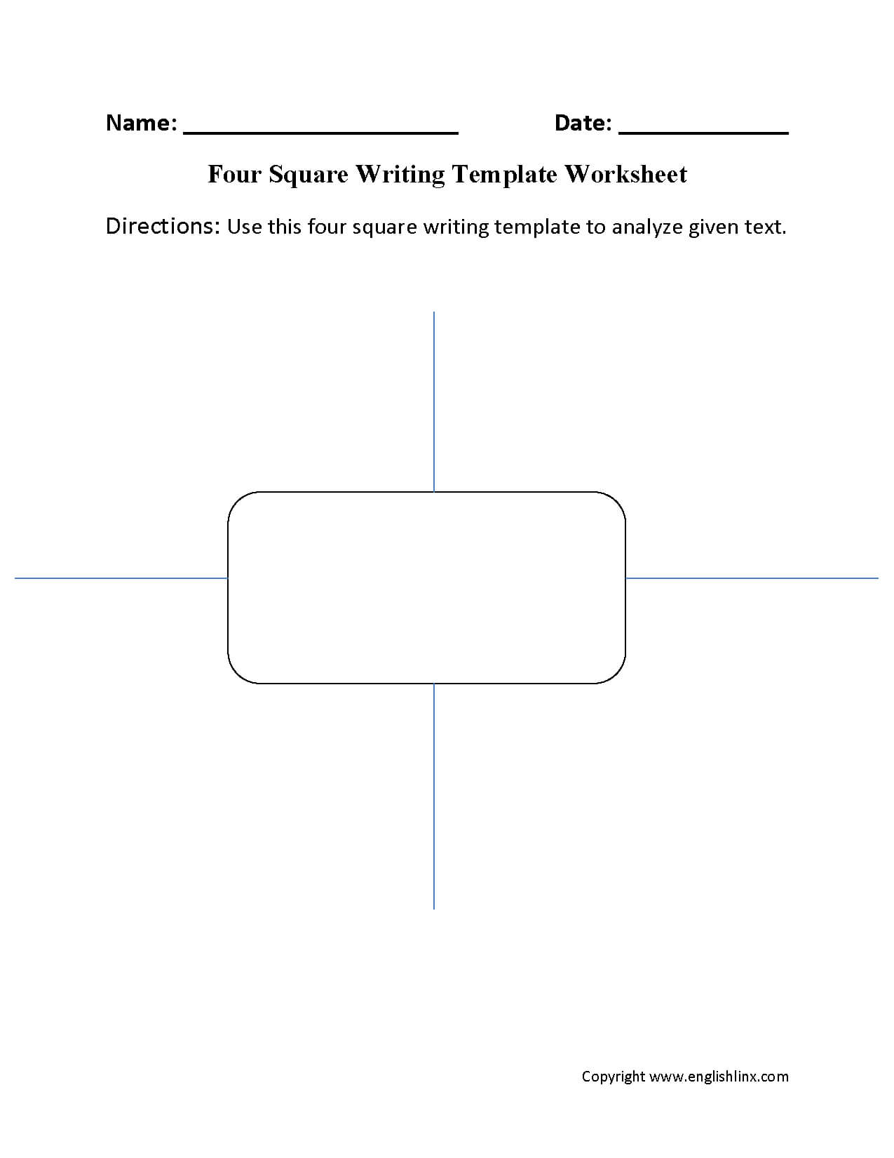 Writing Template Worksheets | Four Square Writing Template Pertaining To Blank Four Square Writing Template