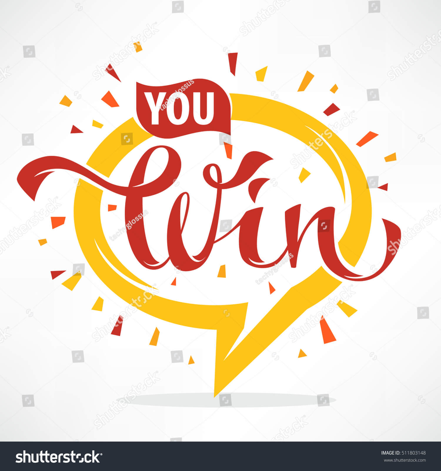 You Win Vector Congratulation Banner Template Stock Vector Throughout Congratulations Banner Template